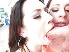 Two Hot Chicks Get Deepthroated Together 1