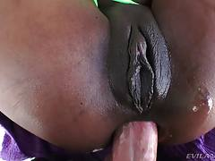 Mike greases up Sarah`s sweet butthole and slides his huge cock inside. After some nasty interracial sodomy, he pulls his thick boner from Sarah`s anus and shoves it into her sucking mouth. Ass-to-mouth flavor!